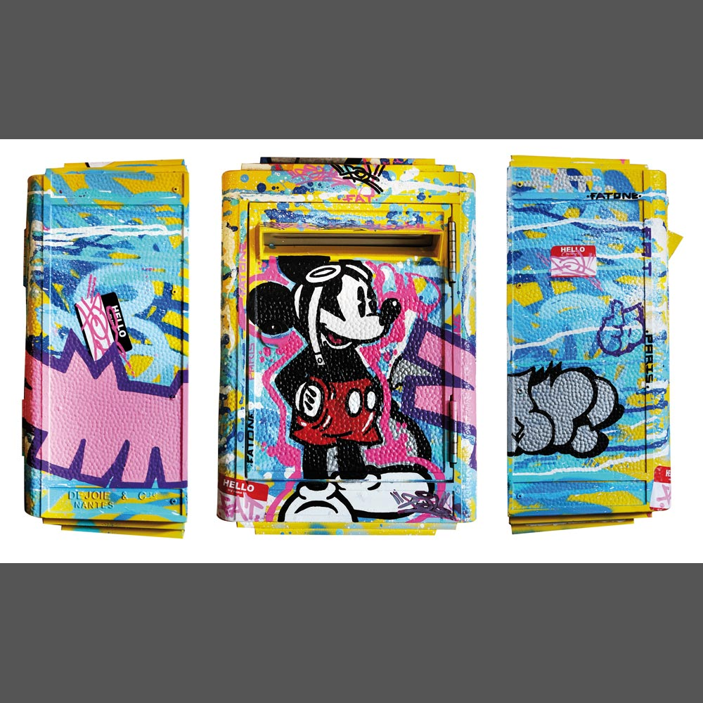 FAT, « Mickey Aviateur », Aerosol, acrylic and posca on mailbox, 42 x 27 x 17 cm, 2017