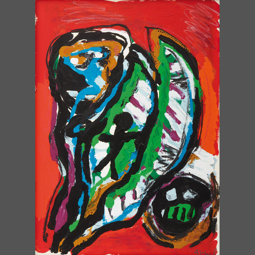 Karel Appel, « Untitled » Acrylic on marouflaged paper on canvas 102 x 74 cm