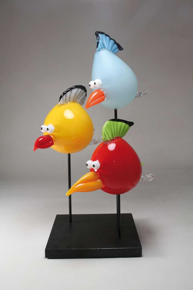 Nicolas Laty, « Happy birds » Blown glass