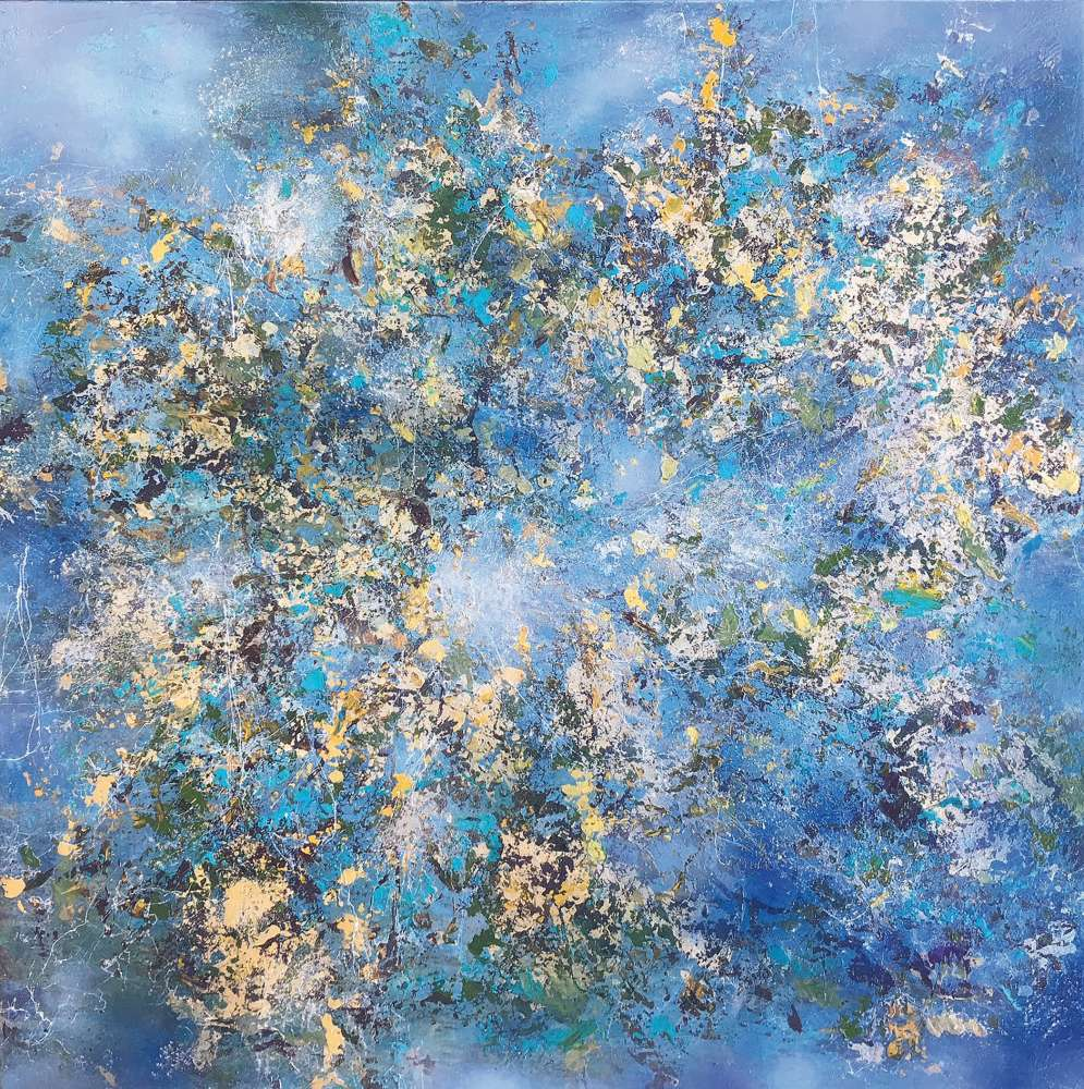Claudia Limacher, « An explosion of Spring » Mixed media 100 x 100 cm